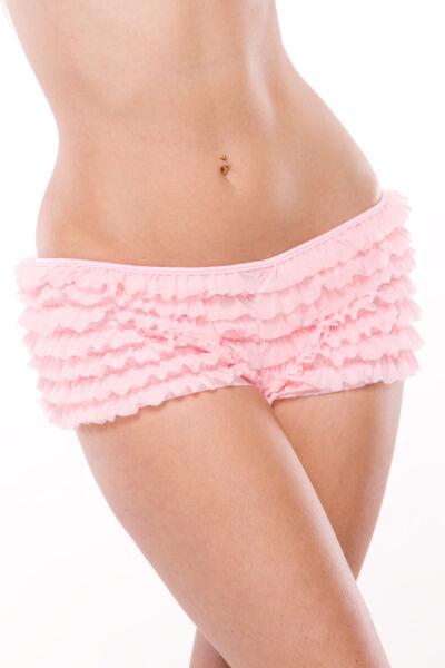 Rüschen Panty Schleife Mesh Slip Shorts Größenwahl schwarz rot pink lila weiss