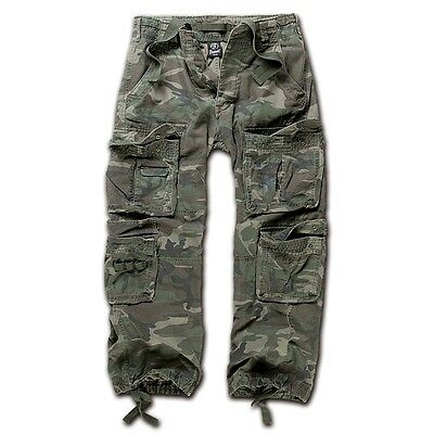 Brandit - Pure Vintage Trouser Woodland Cargohose Outdoor Army Armeehose Hose