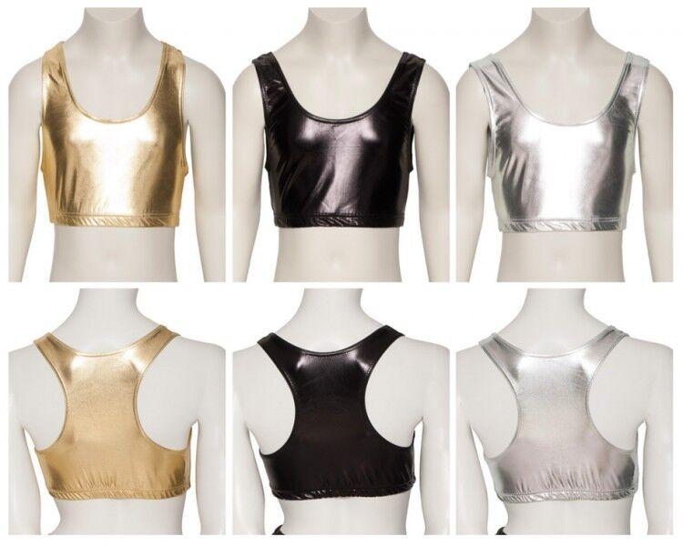 Ladies Girls Shiny Metallic Dance Racer Back Crop Top KCTM-5 By Katz All Colours