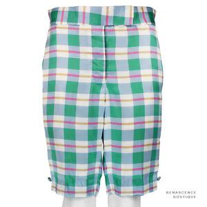 Thom-Browne-Pastel-Blue-Green-Pink-Silk-Satin-Tailored-Fit-Shorts-Size-2-UK10