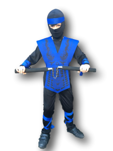 BOYS POWER BLUE NINJA KOMBAT SAMURAI WARRIOR CHILD KIDS FANCY DRESS COSTUME