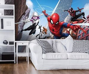Marvel Wallpaper Mural For Kids Bedroom Spider Man Comics Heroes