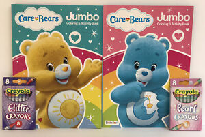 Care Bears 4 Piece Set Jumbo Coloring & Activity Books + Glitter & Pearl Crayons