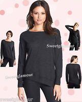 $258 Eileen Fisher Fine Merino Jersey Bateau Asymmetric Seam Detail Top Sweater