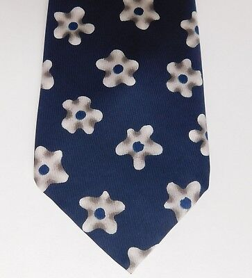 Floral tie by M&S blue and white flower pattern vintage 1990s British made