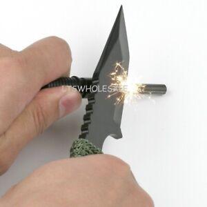 Knife Survival Hunting Black Blade w/ Steel Flint Fire Starter Sheath Camping