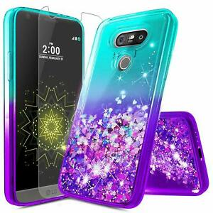 new concept fe9b0 32640 Details about For LG G5 Case | Liquid Glitter Bling Shockproof Cute Cover +  Screen Protector