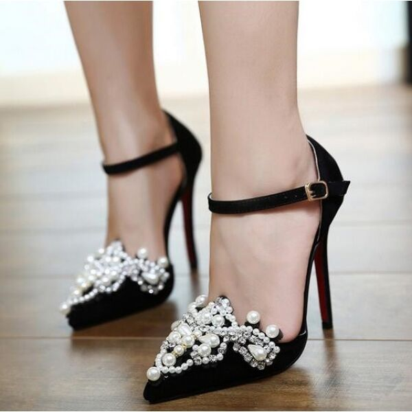 Pumps Frau Schuhe elegant Stilett 11.5 cm schwarz Perlen simil Leder CW573