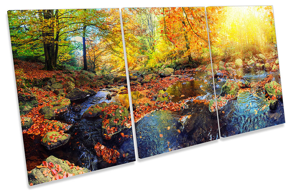 Autumn Landscape Scene Picture CANVAS WALL ART TREBLE Print