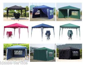 Klapp Falt Pavillon 3x3m Gartenzelt Partyzelt Pavillion Farbe und Seiten wählbar