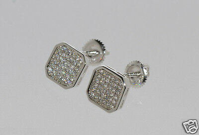 Screw Back Earrings Cubic Zirconia Sterling Silver Studs Clear Square 9x9