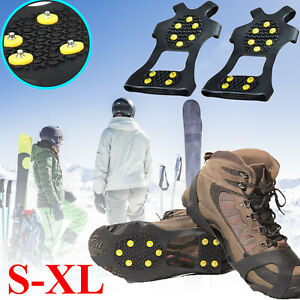 Ice-Snow-Grips-Anti-Slip-On-Over-Shoe-Boot-studs-Crampons-Cleats-Spikes-Grippers