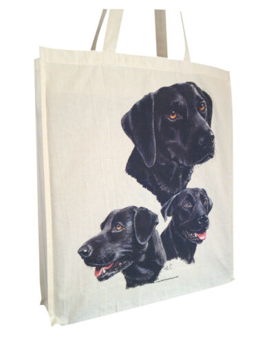 Labrador Black Group Cotton Shopping Tote Bag Gusset /& Long Handles Perfect Gift