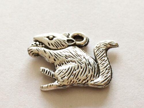 Precioso Peluche Mouse 3D Clip Plata Encanto Para Pulseras-plata tibetana