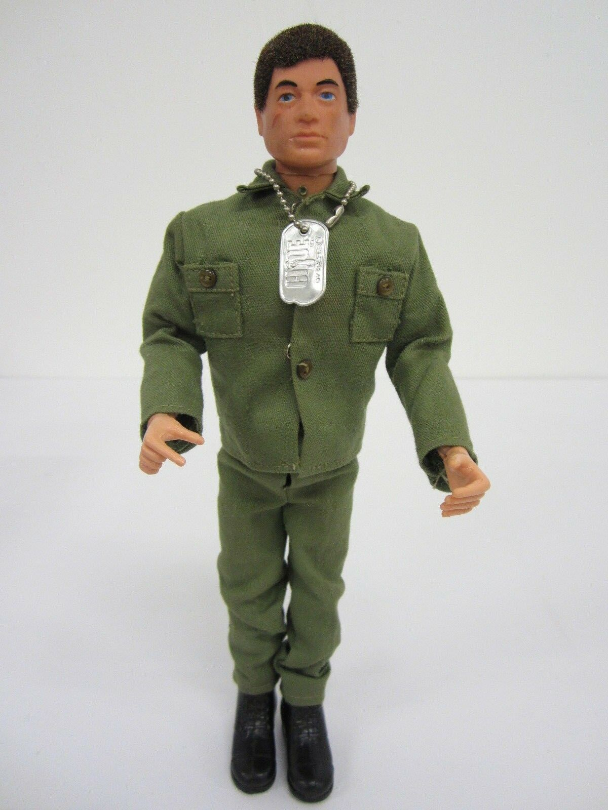 1964 GI Joe 12  Figure W  Hair full uniform and Dog Tags bluee Eyes