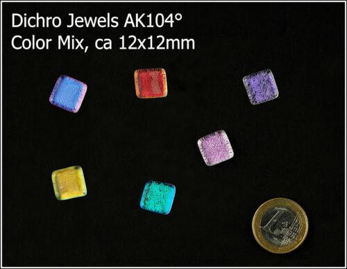 Dichro Jewels 6 Stück 12x12mm 1,33€//St Dichroytische Fused Cabochons