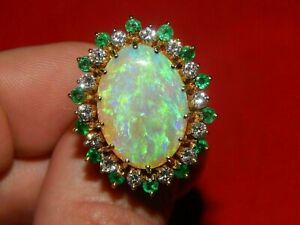 Large-6-00CT-Fire-Opal-Diamond-amp-Emerald-Statement-Ring-14K-Yellow-Gold-Over