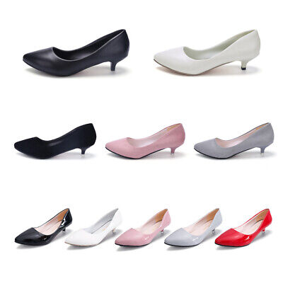 Fashion Women Ladies Low Kitten Heels Office Shoes Comfort Point-Toe Pumps 3Type