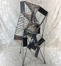 Abstract Brutalist Metal Sculpture Vintage Mid Century Modern Art Cubist Eames