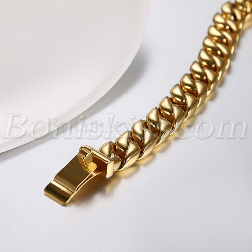 12MM Men/'s Heavy Polished Stainless Steel Figaro Buckle Big Bracelet Chain 21CM