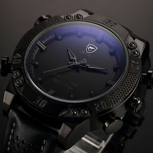 SHARK-Black-Steel-Military-LED-Day-Date-Analog-Men-039-s-Sport-Leather-Quartz-Watch
