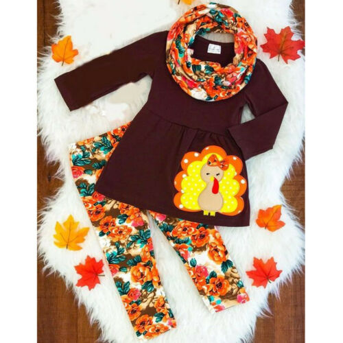 Toddler Kids Baby Girls Turkey T shirt Floral Pants Thanksgiving Outfits Set