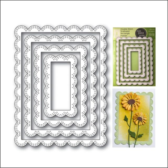 Double Stitch Scalloped Rectangle Frames Dies Poppystamps Metal ...