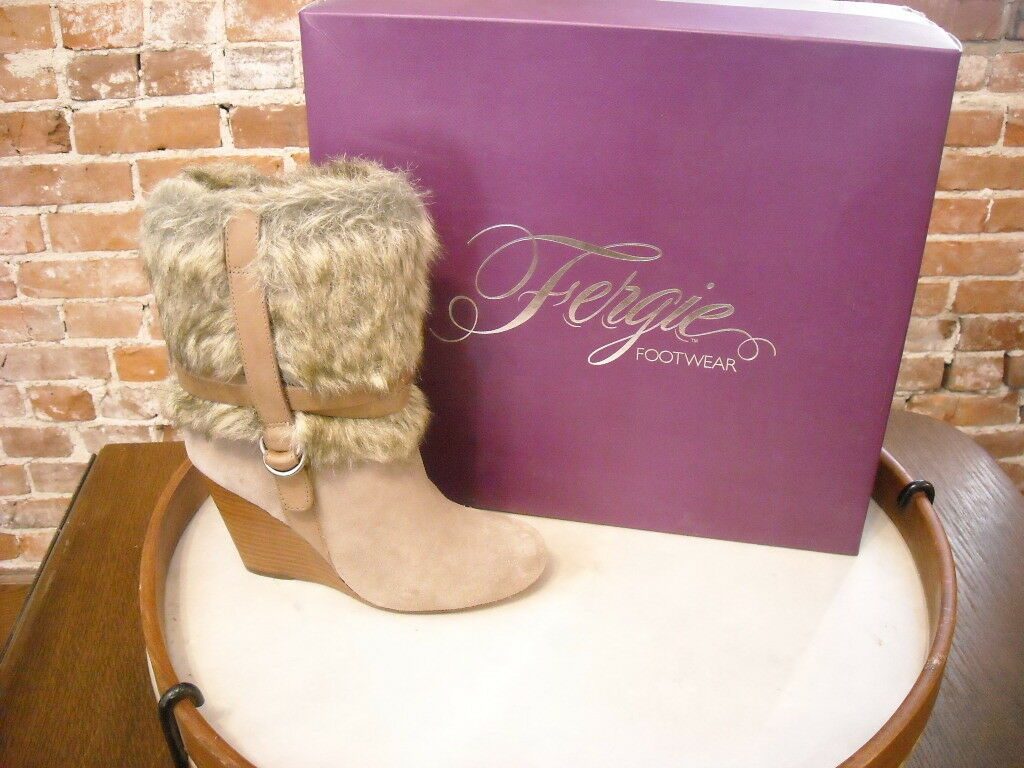 Fergie Taupe Suede & Fur Fargo Wedge Boot NEW