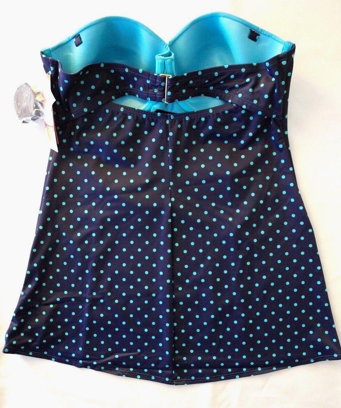 SPANX 2697 Navy Splash Polka Dot Retro Dresskini Top 8,10,12,14,16 New $108