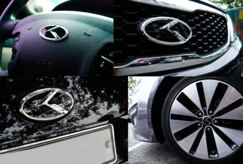 3D K Logo Front+Rear+Horn+Wheel Cap Full Set Emblem For KIA Cadenza K7 2014 2015