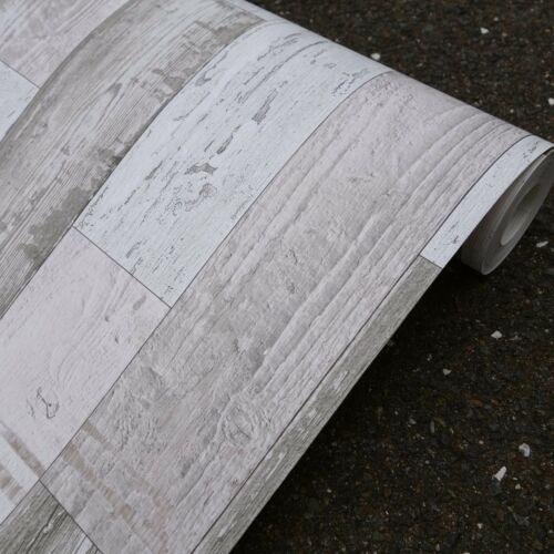 Aktion Shabby Wood Papier Tapete AS 30478-1 creme grau braun 10m Rolle