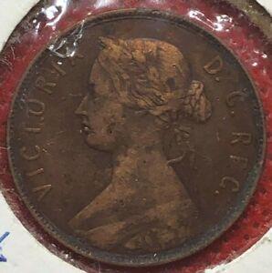 1880-New-Foundland-Queen-Victoria-Bronze-One-Cent