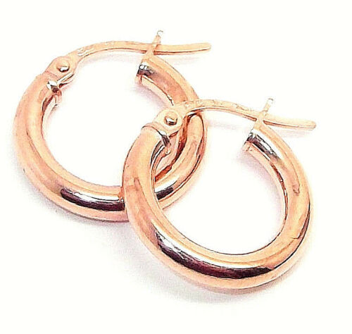 9CT HALLMARKED ROSE GOLD 16MM HIGHLY POLISHED ROUND CREOLE HOOP EARRINGS