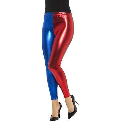 Women/'s Harlequin Metallic Red /& Blue Black Hot Leggings Fancy Dress Hen Theme
