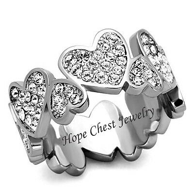 WOMEN'S STAINLESS STEEL HEART SHAPE PAVE CRYSTAL ANNIVERSARY ETERNITY RING 10