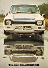 Ford Escort RS 2000 Mk1 1973-75 mercado del Reino Unido Folleto de ventas
