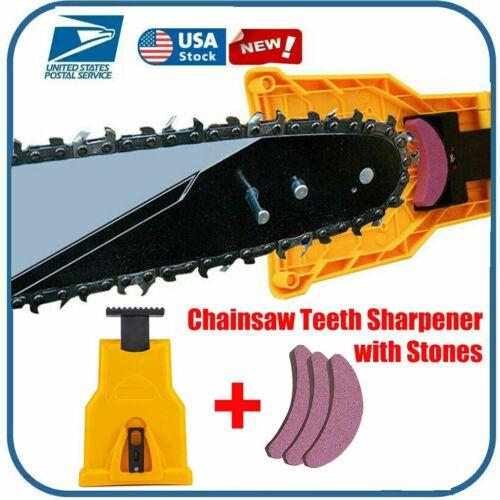 "Chainsaw Teeth Sharpener 16/"" 18/"" 20/"" Blade Fast 3PC Sharpening Stone Kit Tools"