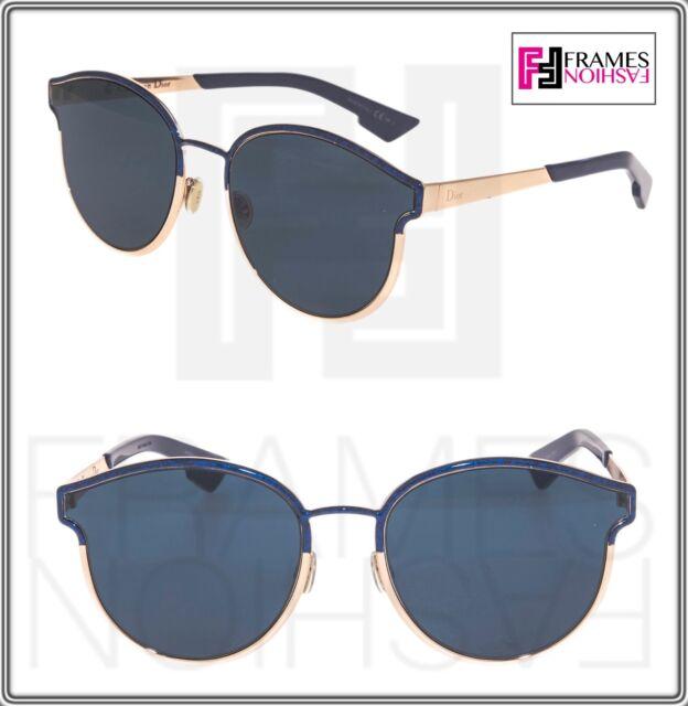 CHRISTIAN DIOR SYMMETRIC Rose Gold Marble Blue Mirrored Sunglasses  DIORSYMMETRIC 3088705a50bb