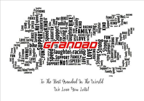 PERSONALISED Motorbike Word Art Wall Print Gift Idea Fathers Day Dad Biker Bike