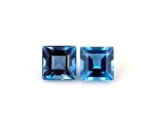 Diplomatisch Top Topaz 5 X 5 Mm Pair : 1,60 Ct Natürlicher London Blue Topas Pärchen GroßE Vielfalt
