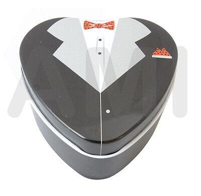 ELEGANT METAL HEART SHAPED BRIDE & GROOM WEDDING FAVOUR TINS/BOXES PACKS OF 10