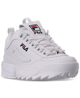 Fila Disruptor II Casual Athletic Sneakers WhiteNavyRed Leather Kids Shoes | eBay