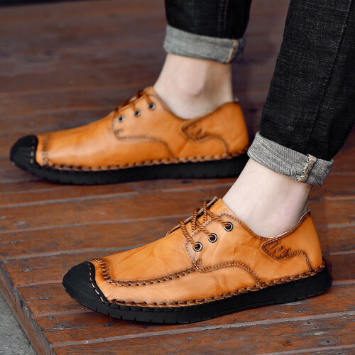 Men Dress Shoes Business Leather Work Fashion Lace Up British Style Plus Size