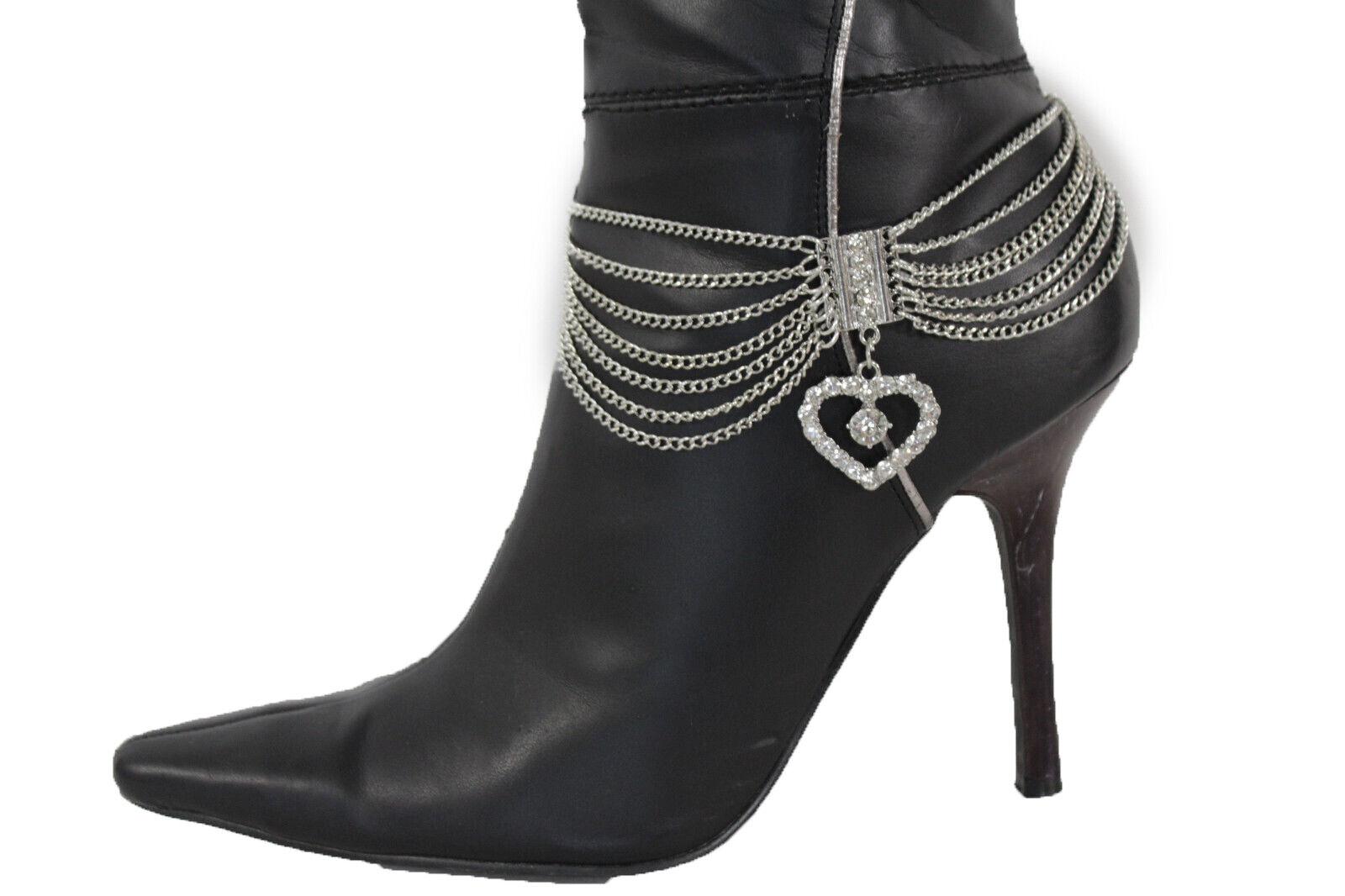Women Western Anklet Chain Boot Silver Metal Bracelet Love Big Heart Shoe Charm