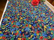 coton ,neuf ,1m,75x1m,30  tissus a fleurs colorées sur fond bleu marine