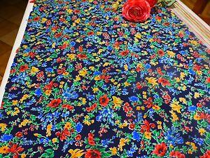Coton ,neuf ,1m,75x1m,30 Tissus A Fleurs Colorées Sur Fond Bleu Marine Grzigkw6-10041239-693208229