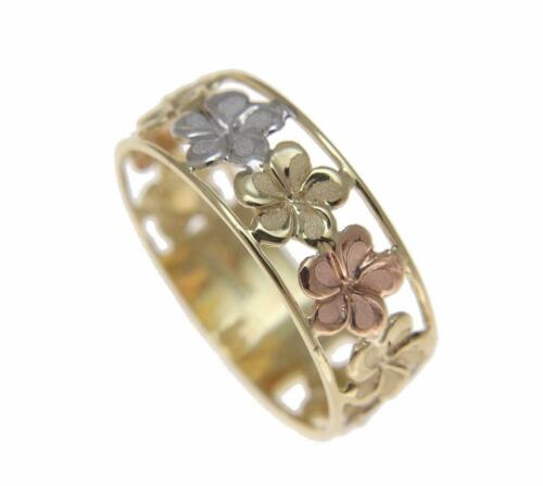 14K Solide Jaune Blanc Or Rose Fantaisie Hawaïen Plumeria Fleur Lei Ring 6.5 mm