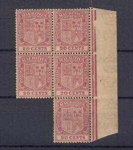 Mauritius-KGV-1921-20c-Margin-Block-Of-5-SG221-MNH-J7234