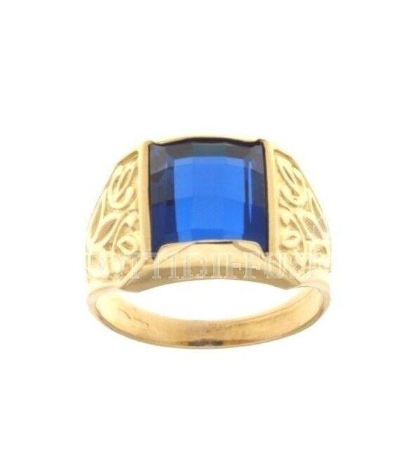green Anello gold yellow,con pietra bluee rettangolare sfaccettata gr 399,00