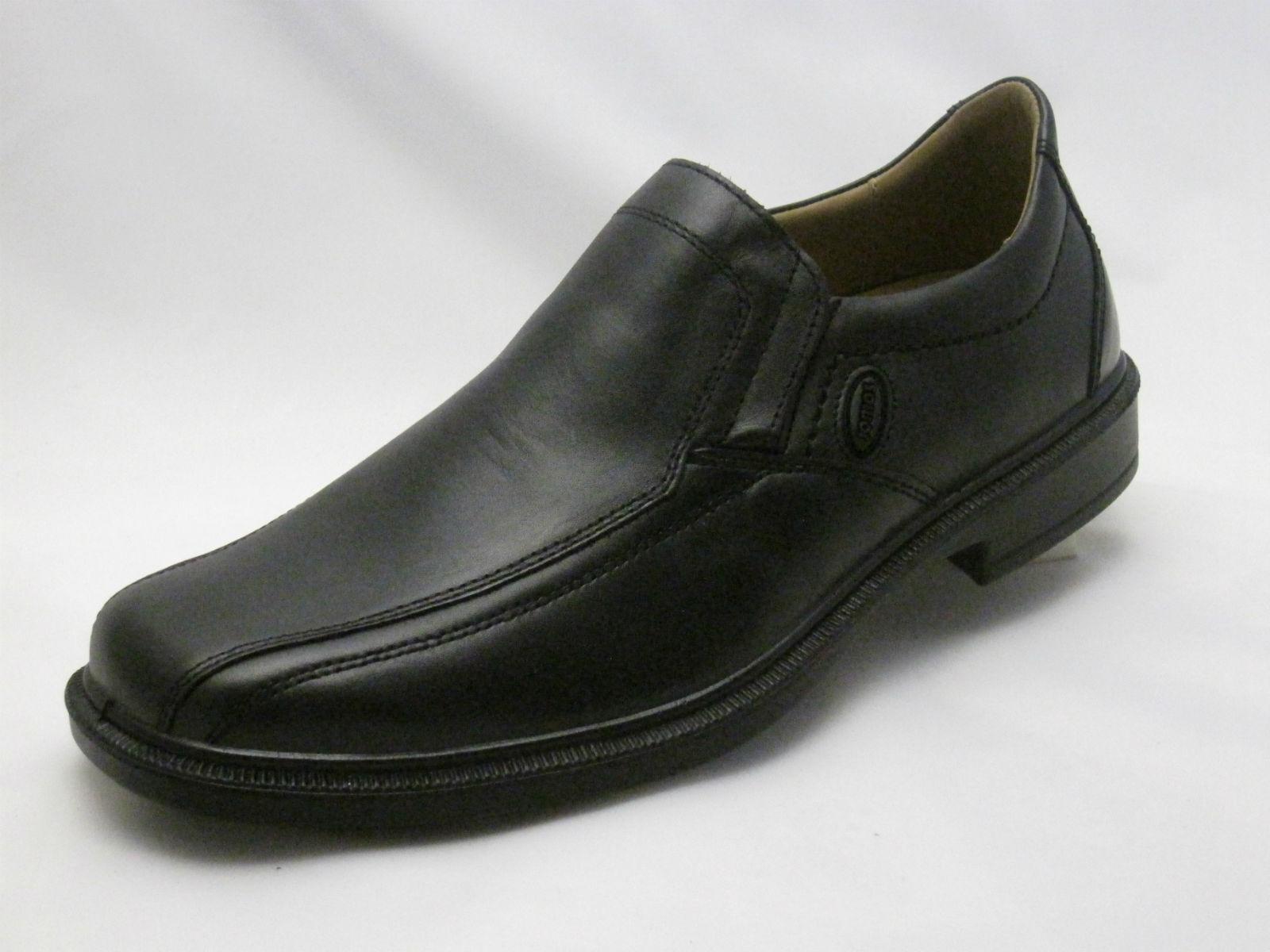 Jomos eleganter Slipper, schwarz Leder, Luftpolster, Weite H